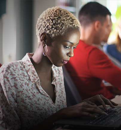 African american woman working on computer