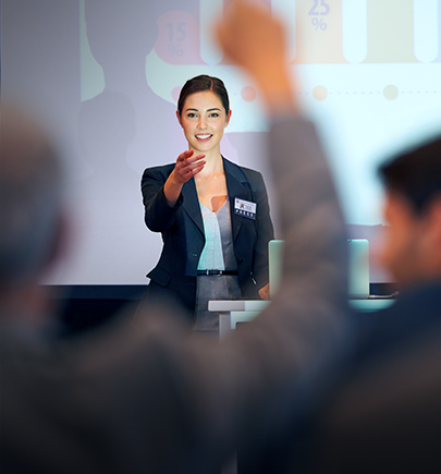Woman talking to audience