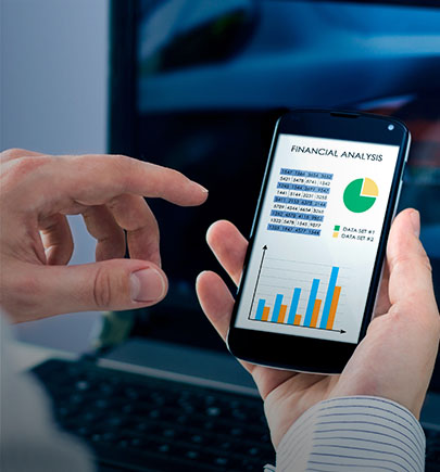 Mobile financial analytics charts