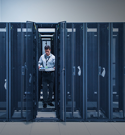 It exec standing in server room